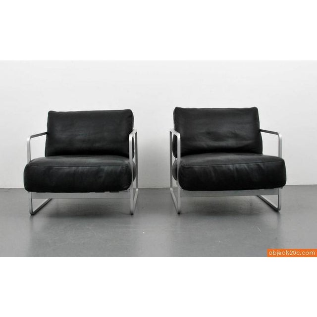 Pair of Zonatta Leather Lounge Chairs by Alfredo W. Häberli & Christophe Marchand - Image 3 of 8