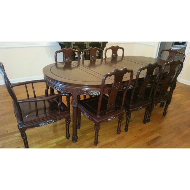 Vintage Chinese Rosewood Carved Dining Set For Sale - Image 13 of 13