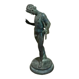 19th Century Grand Tour Bronze Sculpture of Narcissus with Fig Leaf