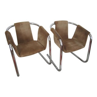 1980s Modern Chrome and Suede Sling Arm Cantilever Chairs - a Pair For Sale