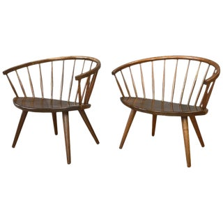 "Pair of Yngve Ekström Oak ""Arka"" Chairs for Stolab For Sale"