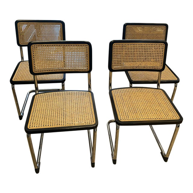 Set of 4 Black Cane Armless Dining Chairs For Sale