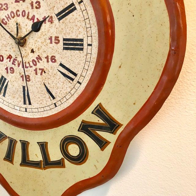1990s Vintage Tolework Chocolate Revillon Clock For Sale - Image 5 of 10