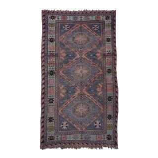 1940s Antique Authentic Caucasian Sumac Handmade Wool Rug- 6′ × 10′ For Sale