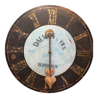 1910s Antique French Advertising Metal Clock For Sale