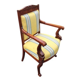19th Century Napoleonic Mahogany Carved Arm Chair