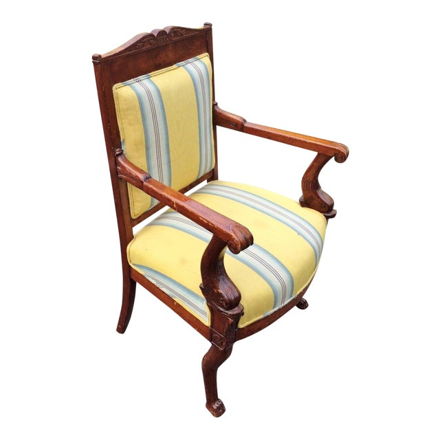 19th Century Napoleonic Mahogany Carved Arm Chair For Sale