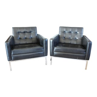Mid Century Knoll Style Black Vinyl Club Chairs - a Pair For Sale