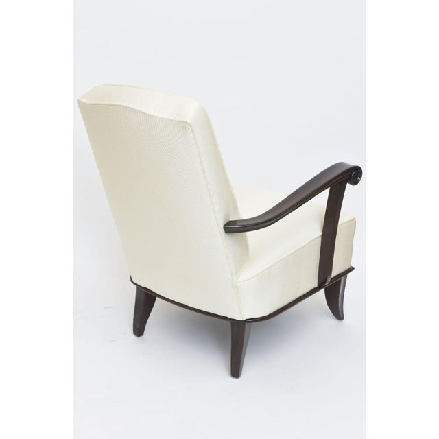 1950s Jean Pascaud Pair of French Modern Rosewood and Upholstered Armchairs, 1940s For Sale - Image 5 of 11