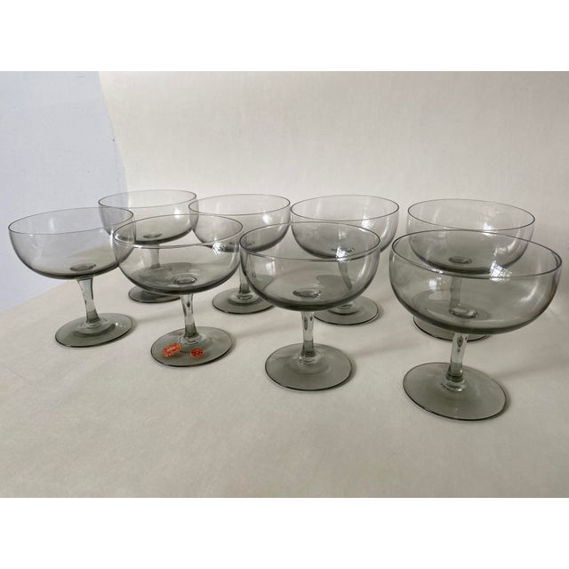 1950s Holmegaard Denmark Elsinore Smoke Glass Stemware - Set of 8 For Sale - Image 9 of 9