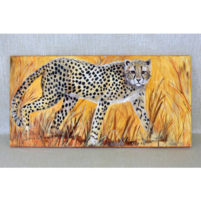 """Black 36"""" Original Cheetah Oil Painting by Gilian Levy For Sale - Image 8 of 8"""
