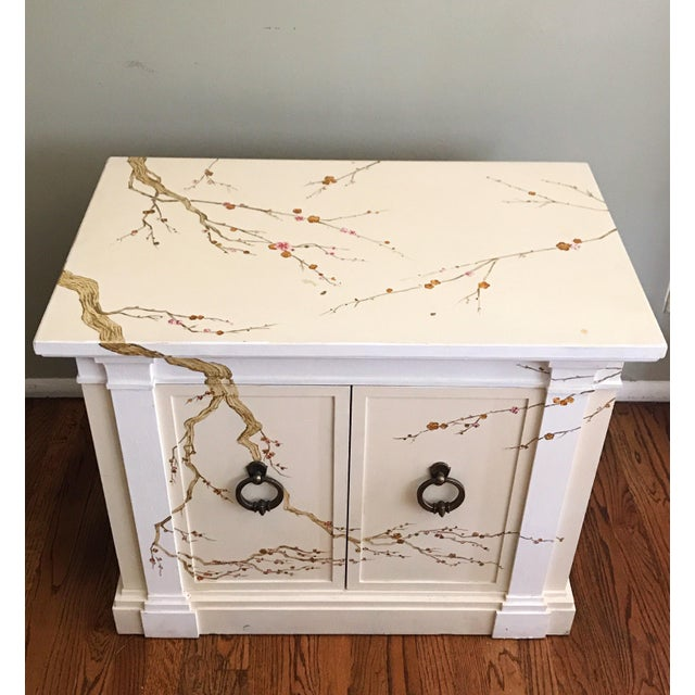 One of a kind cabinet fully freehand-painted. Real wood, vintage mid-century cabinet with shelf inside. Refinished with...