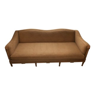 Pickled Legs and Accent Wood, Light Mushroom Ultra Suede Fabric French Country Style Couch For Sale