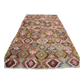 "Vintage Turkish Kilim Rug-5'11'x10"" For Sale"