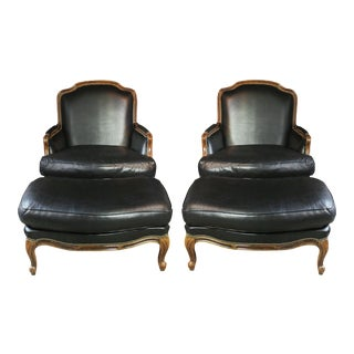 Large French Louis XV Style Bergères with Ottomans - A Pair For Sale