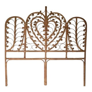 Vintage Rattan Headboard Full Size Peacock Curl Bohemian Chic