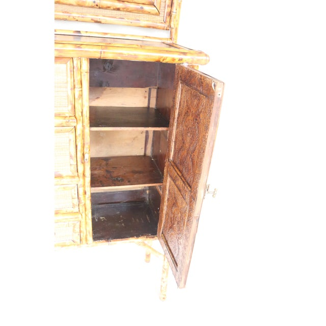 Brown 19th Century English Bamboo Vanity Cabinet For Sale - Image 8 of 13