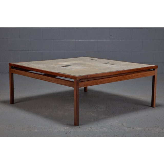 Danish Modern Large Danish Modern Mid-Century Rosewood and Tile Coffee Table For Sale - Image 3 of 3