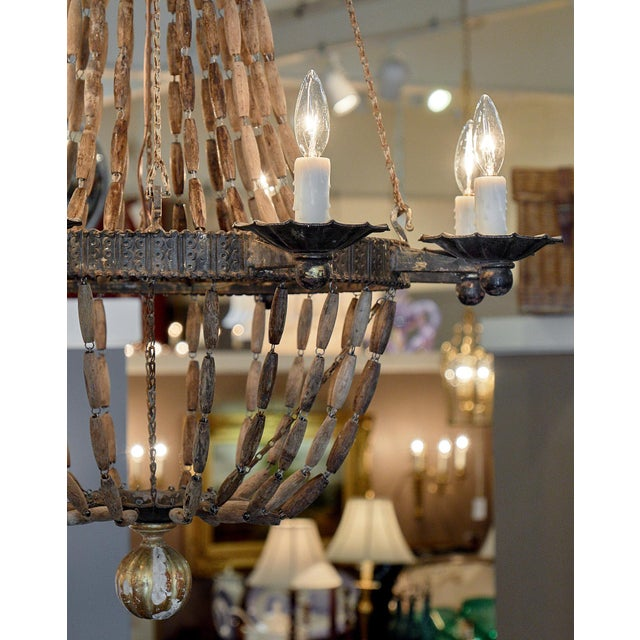 Wood Vintage Italian Wooden Chandelier For Sale - Image 7 of 10