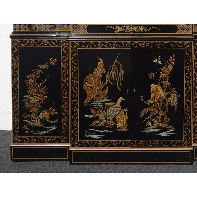 Vintage Drexel Oriental Asian Chippendale Chinoiserie Black China Cabinet Hutch For Sale - Image 11 of 13