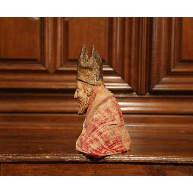 Early 18th Century 17th Century Spanish Carved Walnut Polychrome Bishop Bust With Velvet Cassock For Sale - Image 5 of 8