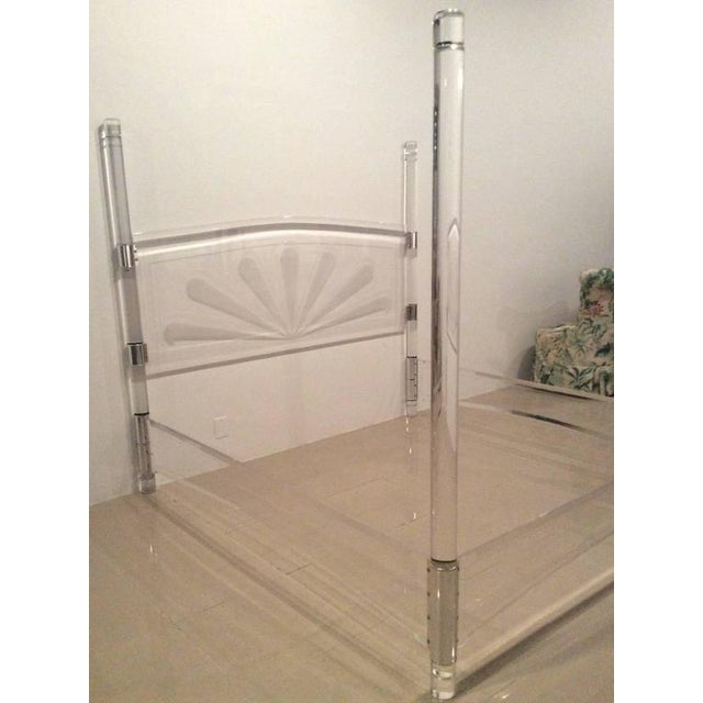 Mid-Century Lucite & Chrome Four Post Canopy King Size Bed For Sale In West Palm - Image 6 of 11