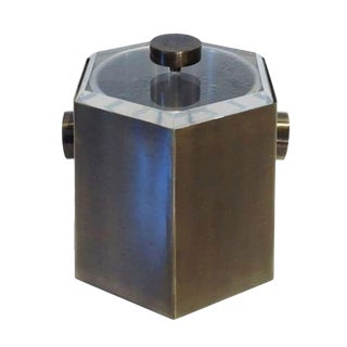 Brass and Lucite Ice Bucket by Charles Hollis Jones For Sale