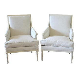 Mid Century Vintage Louis XVI Style Bergere Chairs- A Pair For Sale