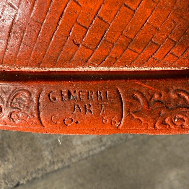 Large Vintage Orange Chalk Ware Happy Buddha For Sale - Image 4 of 12