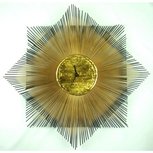 Signed Mid-Century Modern George Nelson Style Brass Sunburst Wall Clock - Image 10 of 10