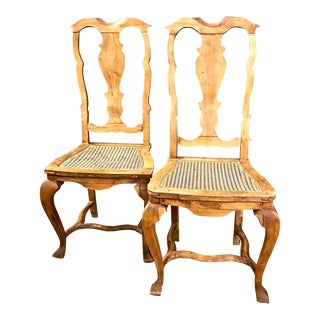 18th Century Baroque Pine Side Chairs - a Pair
