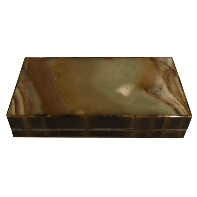 Brown 1950s Mid Century Tigers Eye Box For Sale - Image 8 of 11