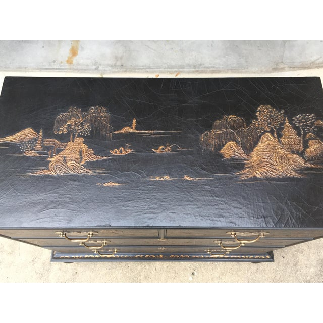 Gold Vintage Baker Chinoiserie Gold and Black Lacquer Chest of Drawers For Sale - Image 8 of 12