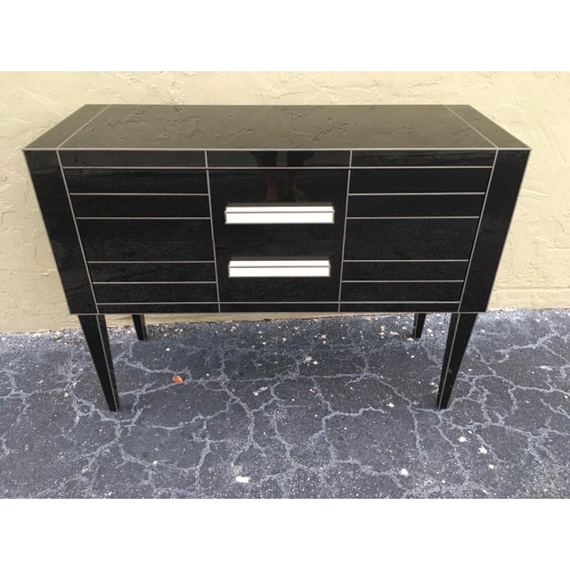 New Chest of Drawers in Black Mirror and Aluminium With White Glass Handle For Sale - Image 9 of 11