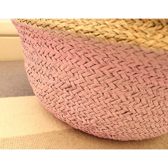 Double Woven Sea Grass Pastel Pink Pom Poms Belly Basket For Sale - Image 5 of 7