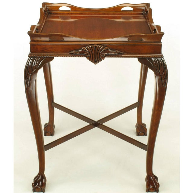 Mid-Century Modern Pair of Mahogany Ball and Claw Footed George II Style End Tables For Sale - Image 3 of 11