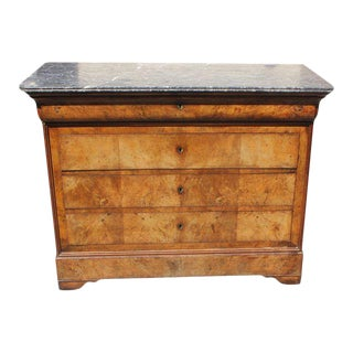 Antique French Louis Philippe Bookmatched Walnut Commode With Marble Top Circa 1890s