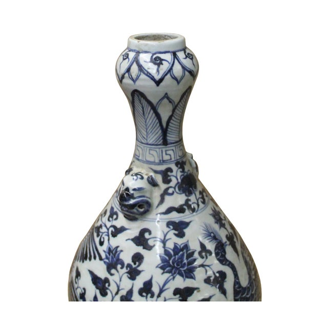 "Chinese Blue White Porcelain Suantouping ""Garlic Head Shape"" Vase For Sale In San Francisco - Image 6 of 9"
