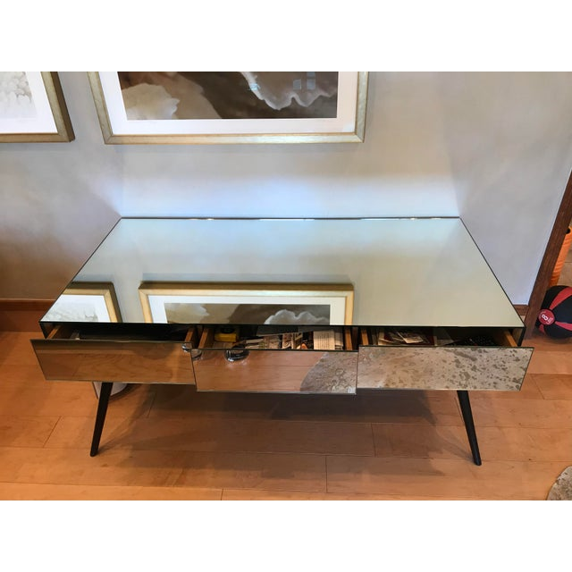 Julian Chichester beautiful unique solid mirror console table with three drawers on front side. There are minor scratches...