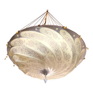 "Fortuny Original Hanging Silk ""Parasol"" Chandelier For Sale"