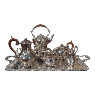 Mid-Century English Copper Silver Plated Tea Set and Tray Stamped Barker Ellis For Sale