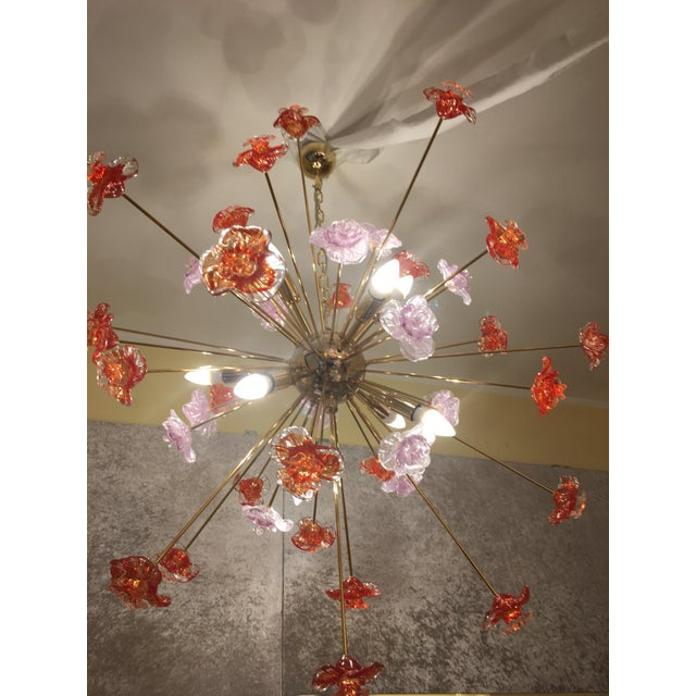 2010s Murano Glass Flowers Chandelier For Sale - Image 5 of 9