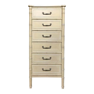 Faux Bamboo Tall Chest of Drawers Hollywood Palm Regency, Henry Link Bali Hai For Sale