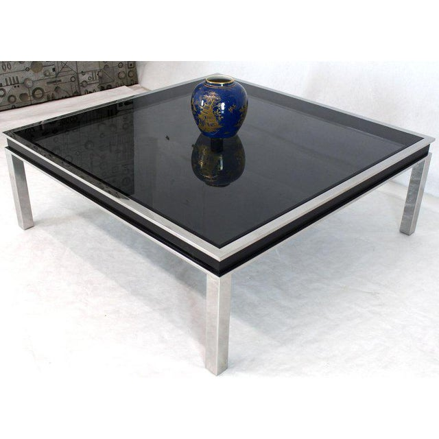 Chrome 1970s Extra Large Polished Chrome Square Smoked Glass Coffee Table For Sale - Image 7 of 13
