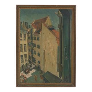 Cityscape of Old Kobmandsgaard by Heinrich Zimmermann 1935 For Sale