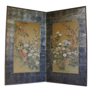 Late 19th Century Antique Mitsusada Tosa Floral Painted 2-Panel Screen For Sale