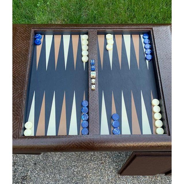 Mid-Century Modern Vintage Karl Springer Grasscloth Covered Backgammon Table For Sale - Image 3 of 11