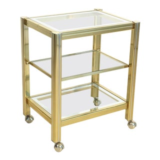 Italian Drinks Cart Trolley or Bar Cart of Brass and Glass For Sale