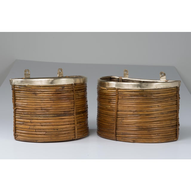 1970s Mid Century Handmade Pencil Reed Cane Brass Hanging Planters For Sale In Philadelphia - Image 6 of 13