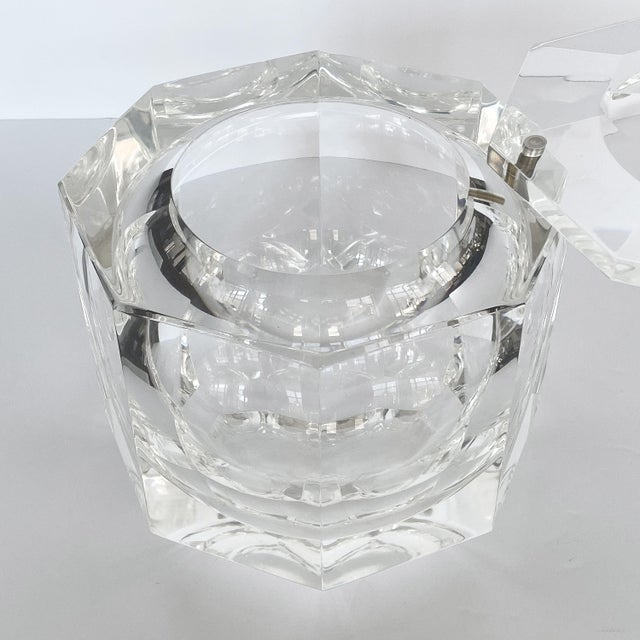 Metal Lucite Ice Bucket by Alessando Albrizzi For Sale - Image 7 of 9